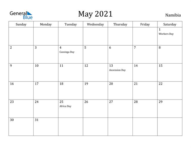 Image of May 2021 Namibia Calendar with Holidays Calendar