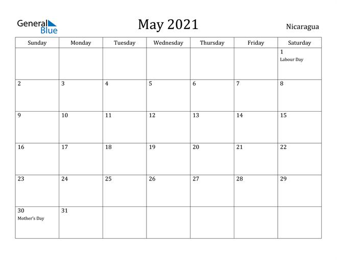 Image of May 2021 Nicaragua Calendar with Holidays Calendar