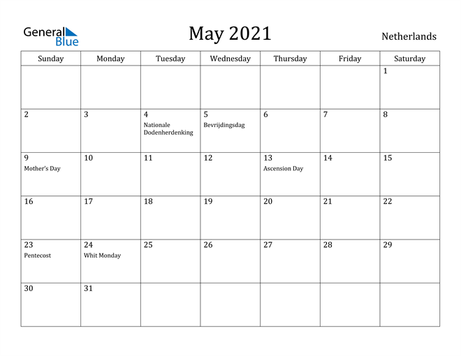 Image of May 2021 Netherlands Calendar with Holidays Calendar