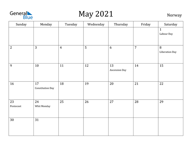 Image of May 2021 Norway Calendar with Holidays Calendar