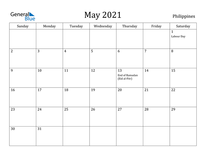 Image of May 2021 Philippines Calendar with Holidays Calendar