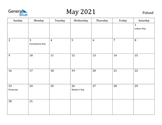 Image of May 2021 Poland Calendar with Holidays Calendar