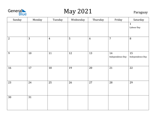 Image of May 2021 Paraguay Calendar with Holidays Calendar