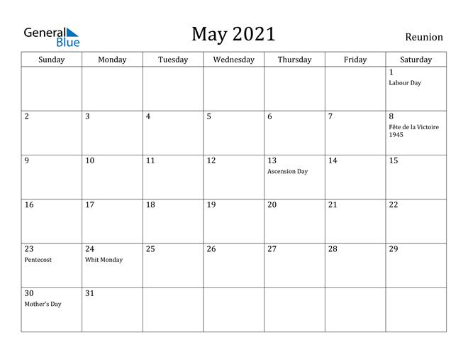 Image of May 2021 Reunion Calendar with Holidays Calendar