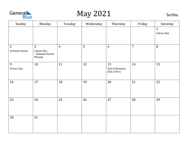 Image of May 2021 Serbia Calendar with Holidays Calendar