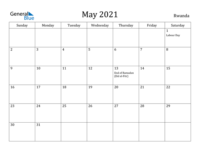 Image of May 2021 Rwanda Calendar with Holidays Calendar
