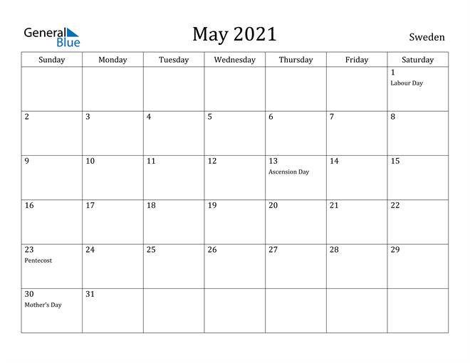 Image of May 2021 Sweden Calendar with Holidays Calendar