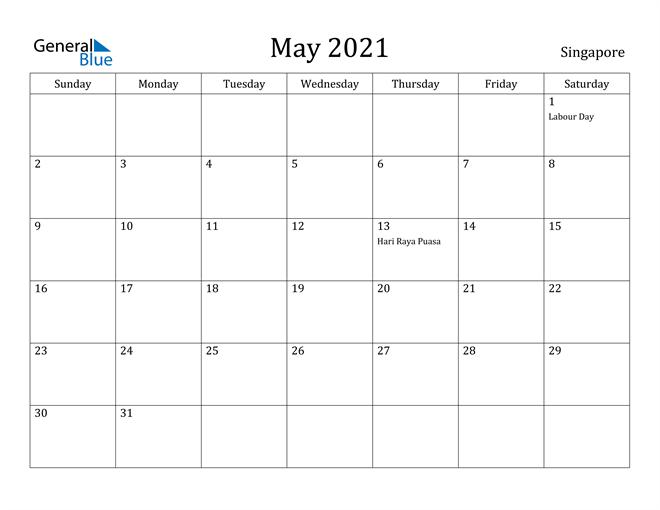 Image of May 2021 Singapore Calendar with Holidays Calendar