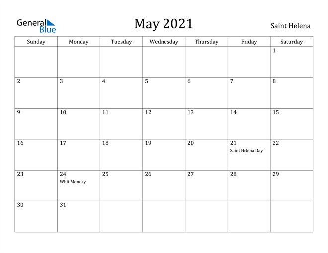 Image of May 2021 Saint Helena Calendar with Holidays Calendar