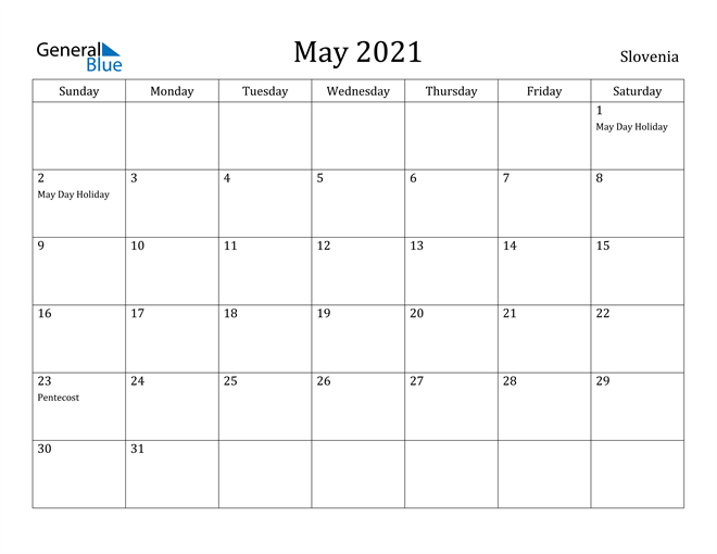 Image of May 2021 Slovenia Calendar with Holidays Calendar