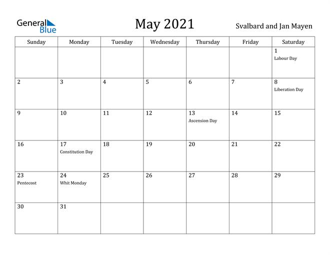 Image of May 2021 Svalbard and Jan Mayen Calendar with Holidays Calendar