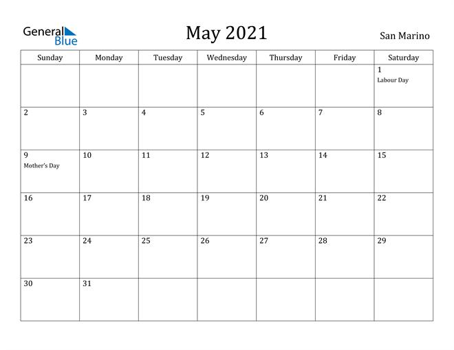 Image of May 2021 San Marino Calendar with Holidays Calendar
