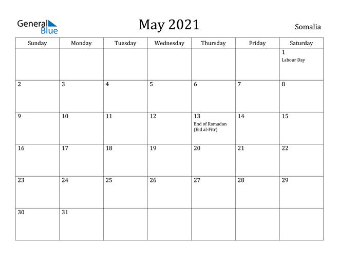 Image of May 2021 Somalia Calendar with Holidays Calendar