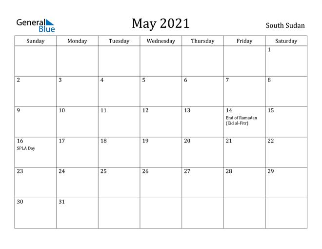 Image of May 2021 South Sudan Calendar with Holidays Calendar
