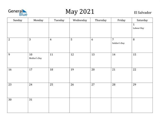 Image of May 2021 El Salvador Calendar with Holidays Calendar