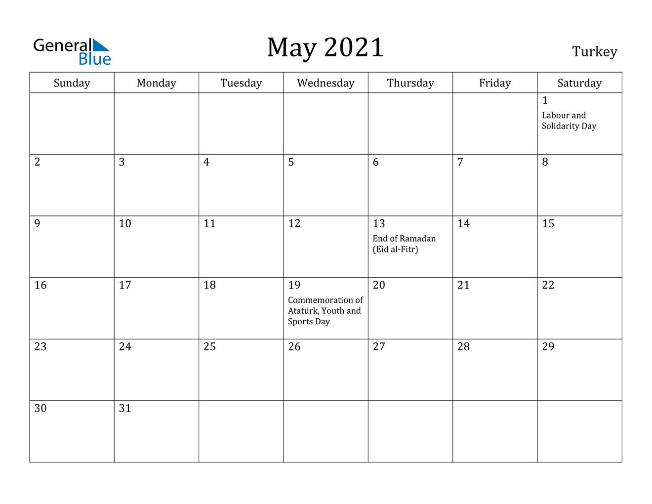 May 2021 Calendar - Turkey