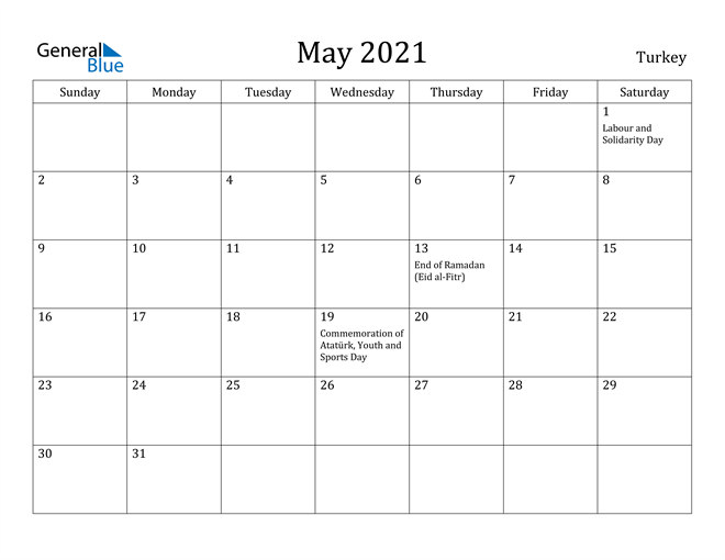 Image of May 2021 Turkey Calendar with Holidays Calendar