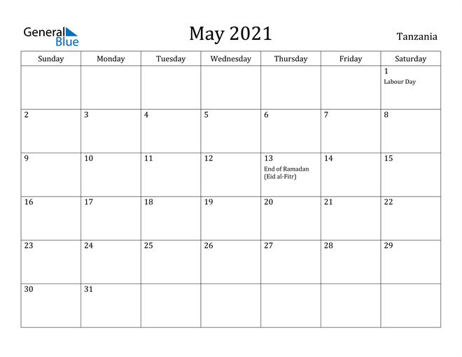 Image of May 2021 Tanzania Calendar with Holidays Calendar