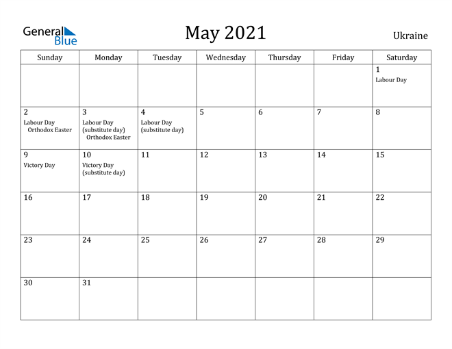 Image of May 2021 Ukraine Calendar with Holidays Calendar
