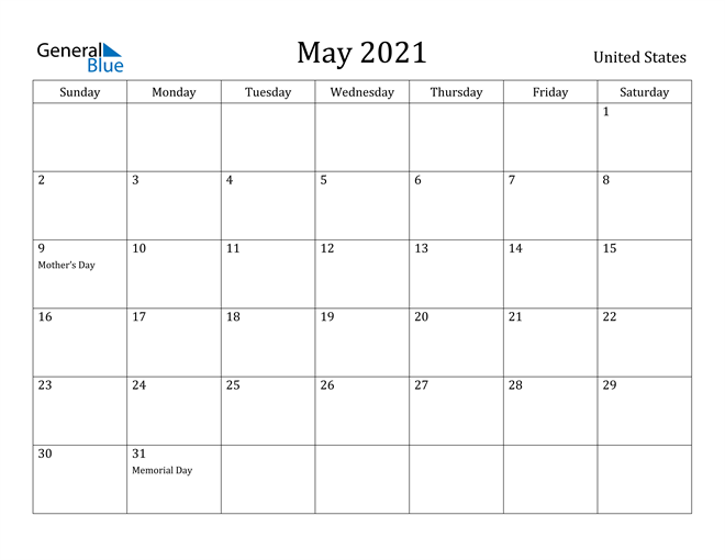 Image of May 2021 United States Calendar with Holidays Calendar
