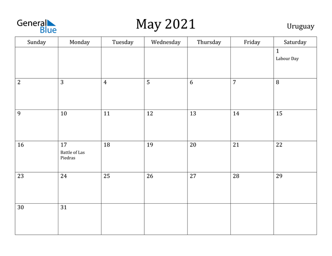 Image of May 2021 Uruguay Calendar with Holidays Calendar