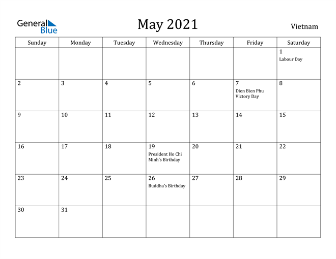 Image of May 2021 Vietnam Calendar with Holidays Calendar