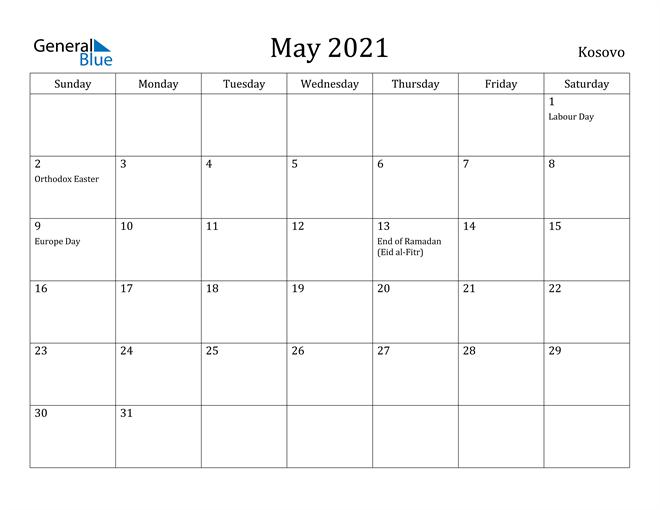 Image of May 2021 Kosovo Calendar with Holidays Calendar