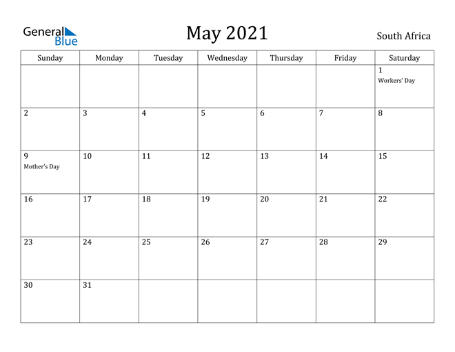 Image of May 2021 South Africa Calendar with Holidays Calendar
