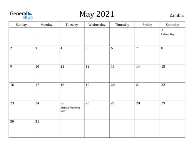 Image of May 2021 Zambia Calendar with Holidays Calendar