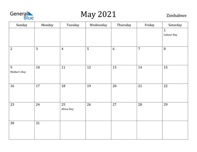 Image of May 2021 Zimbabwe Calendar with Holidays Calendar