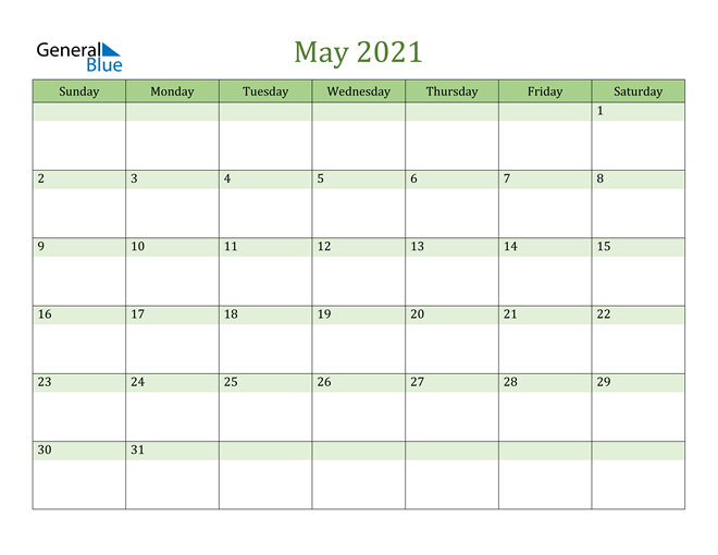 May 2021 Cool and Relaxing Green Calendar