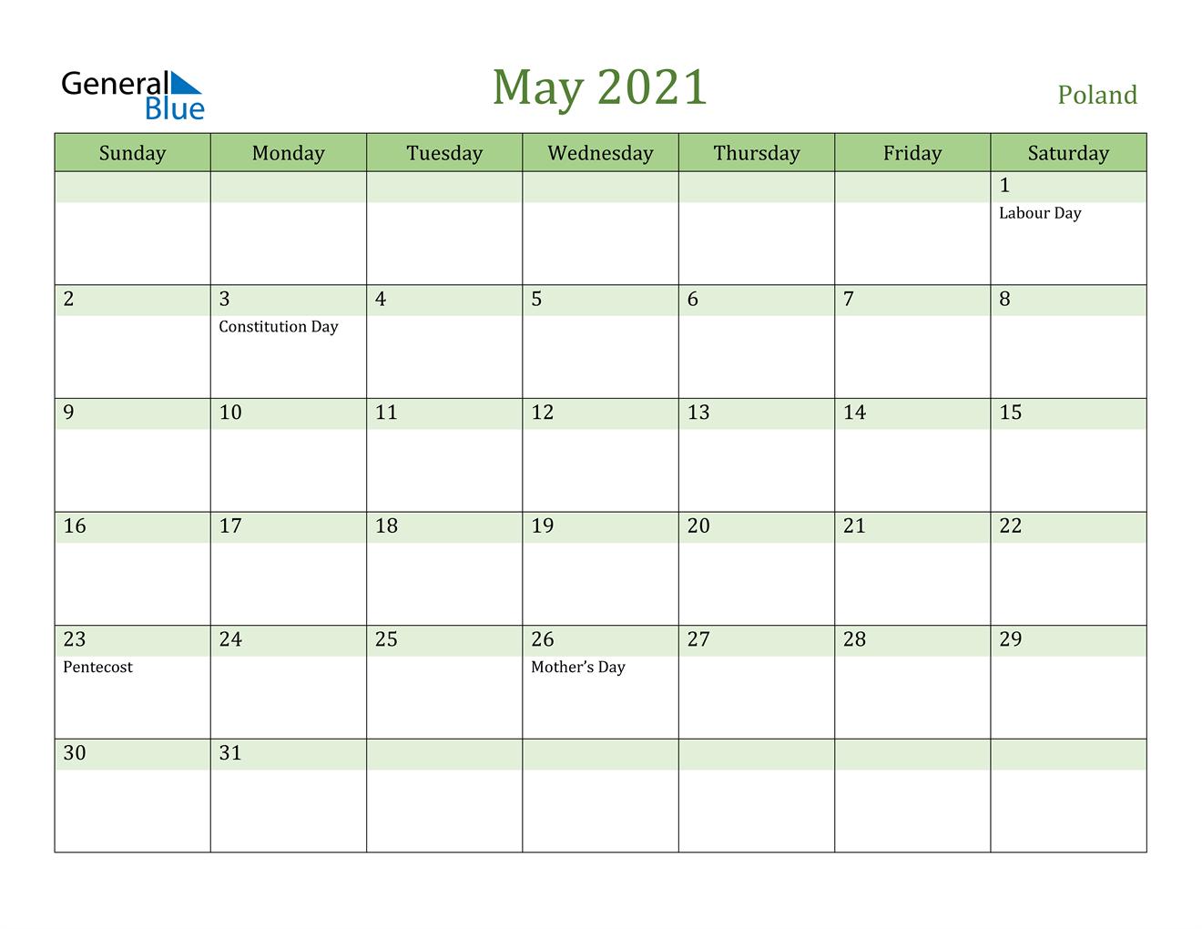May 2021 Calendar - Poland
