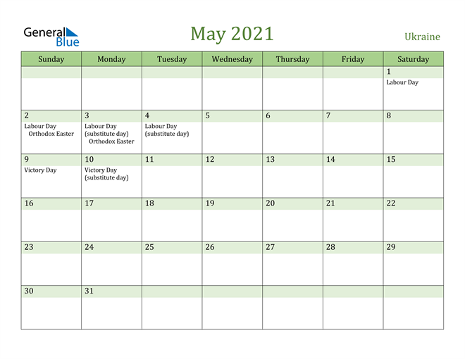 Image of May 2021 Cool and Relaxing Green Calendar Calendar