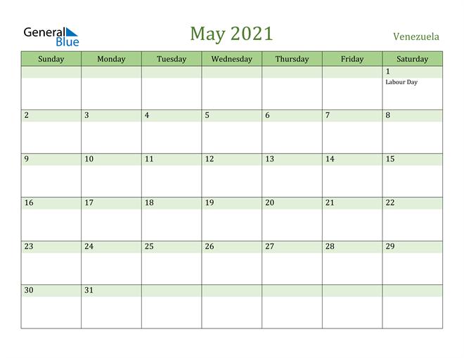 May 2021 Calendar with Venezuela Holidays