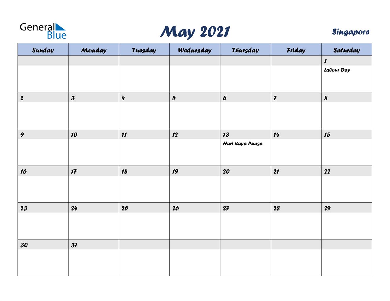 May 2021 Calendar - Singapore