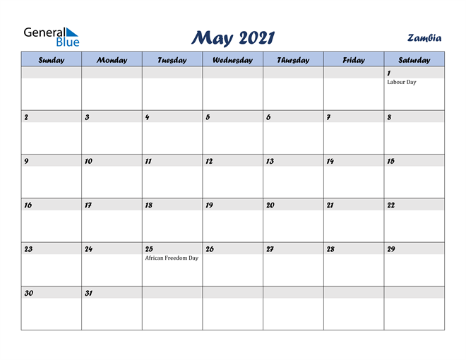 Image of May 2021 Italicized and Cool Blue, A Fun Calendar in PDF, Word and Excel Calendar