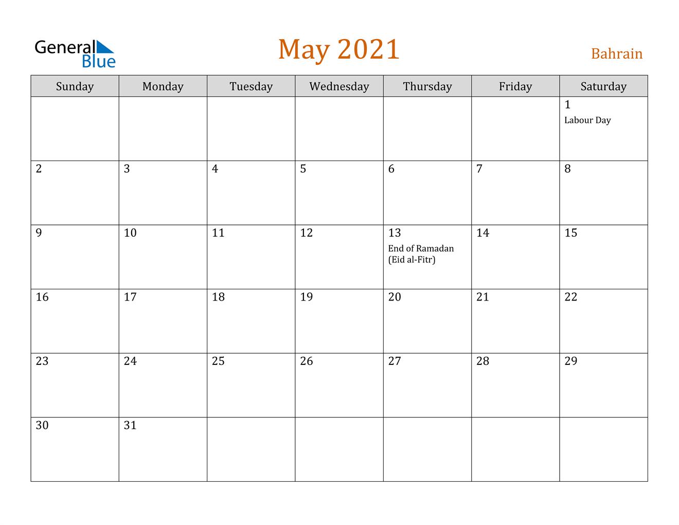 May 2021 Calendar - Bahrain