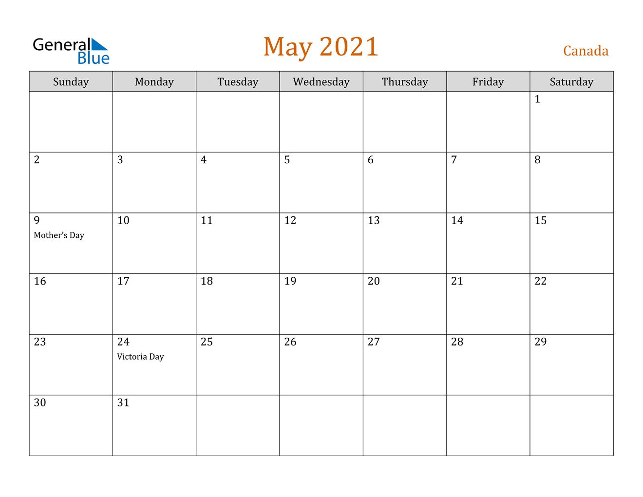 May 2021 Calendar - Canada