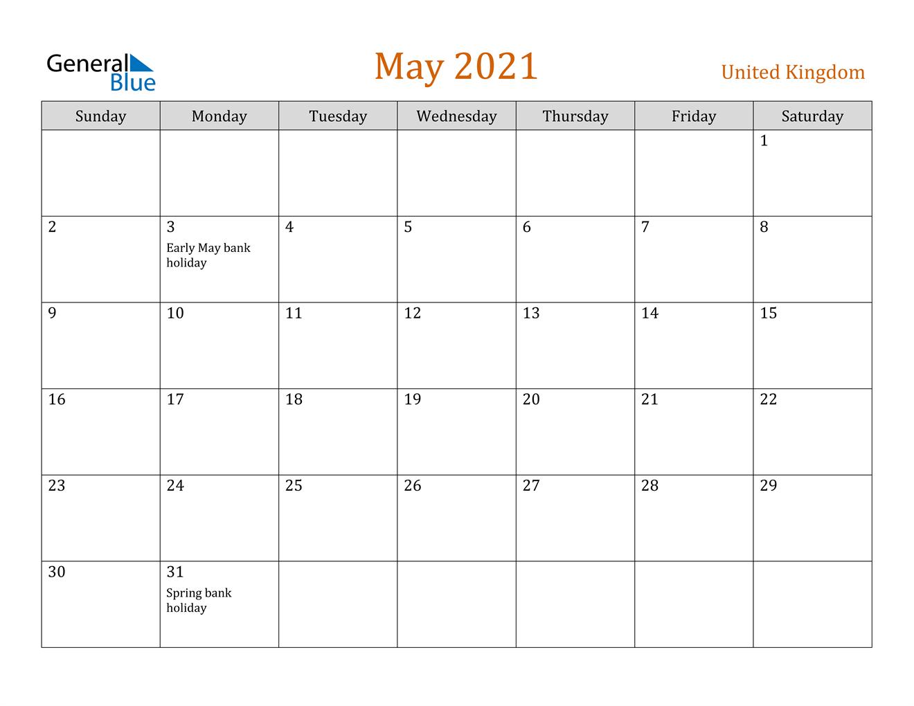 May 2021 Calendar - United Kingdom
