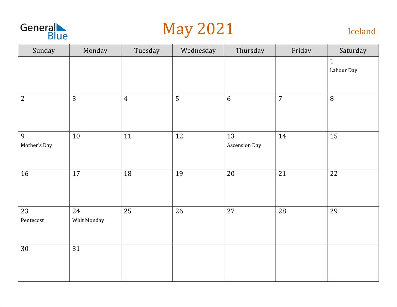 May 2021 Calendar - Iceland
