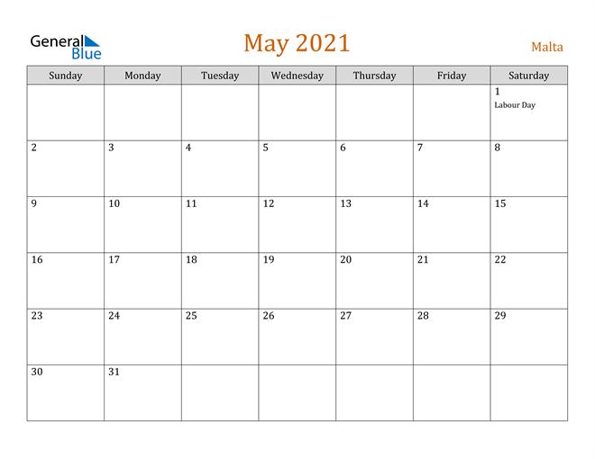 Image of May 2021 Contemporary Orange PDF, Word and Excel Calendar Calendar