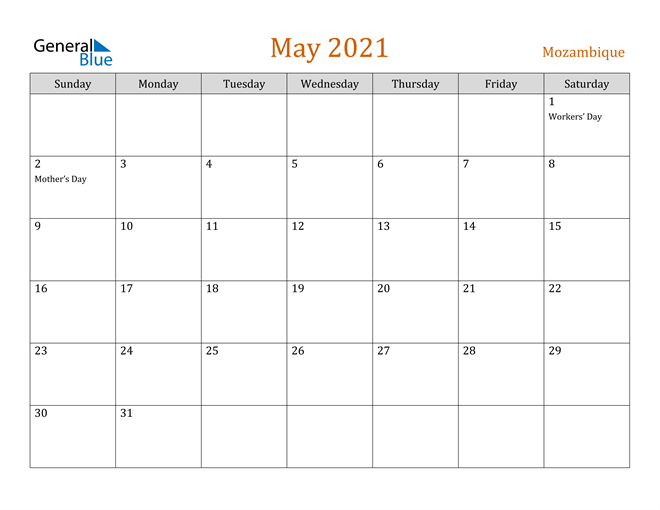 Image of May 2021 Contemporary Orange PDF, Word and Excel Calendar Calendar