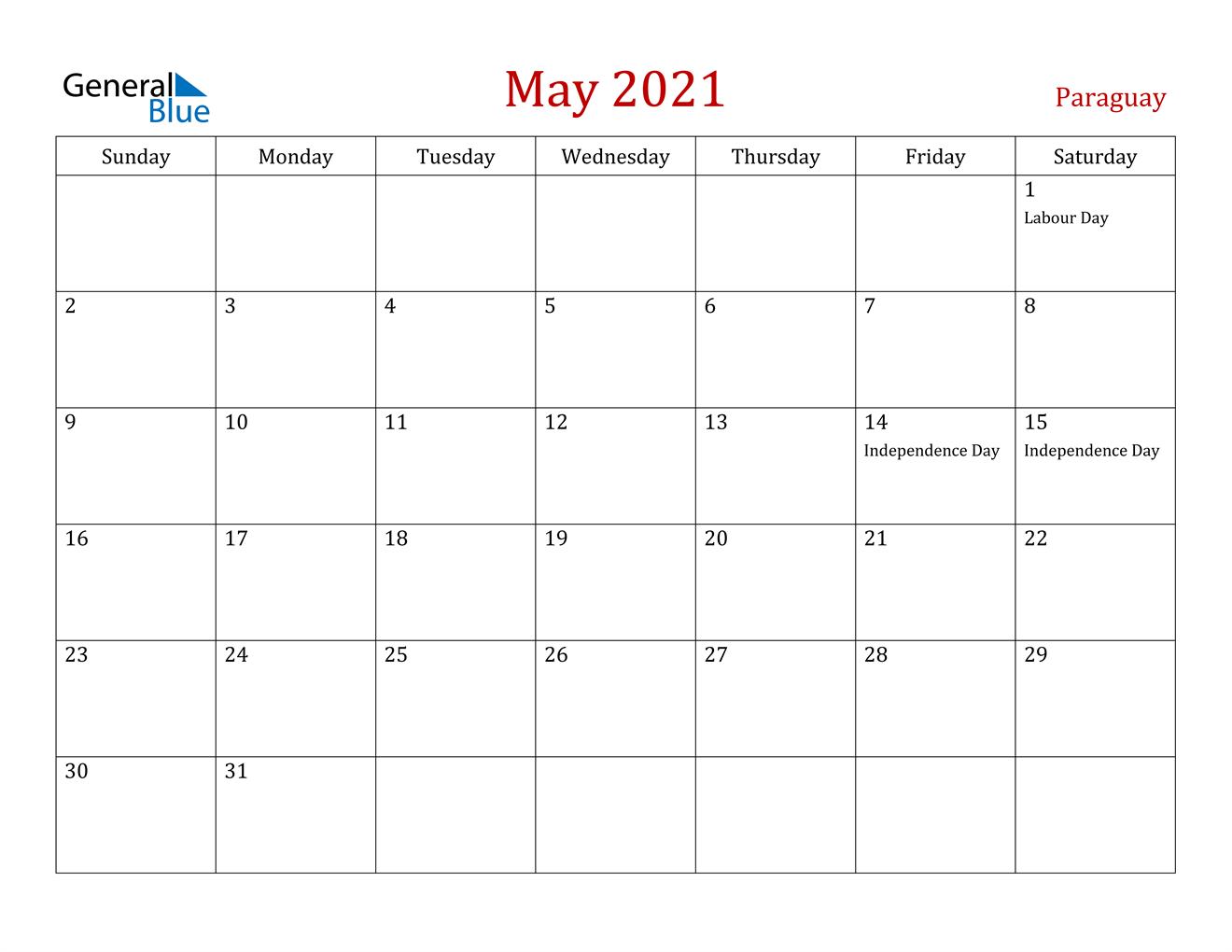 May 2021 Calendar - Paraguay