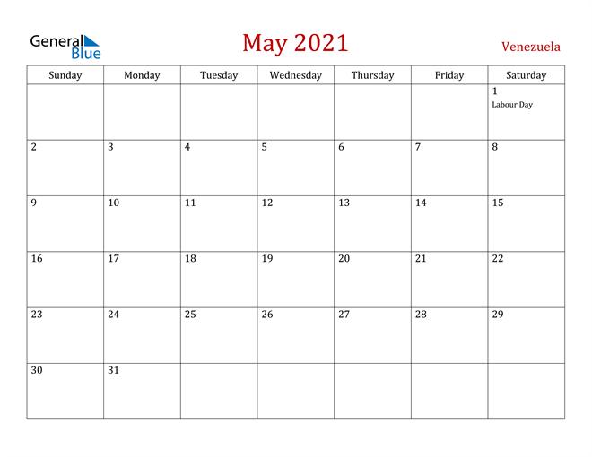 Venezuela May 2021 Calendar