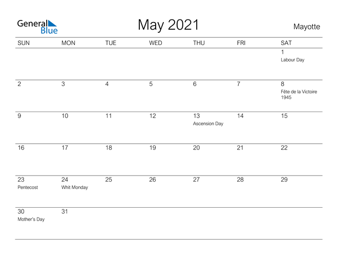Image of May 2021 A Streamlined Design, The Perfect Printable Calendar. Calendar