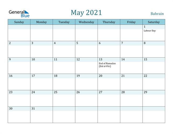 Image of May 2021 Colorful Turquoise Calendar in PDF, Word and Excel Calendar