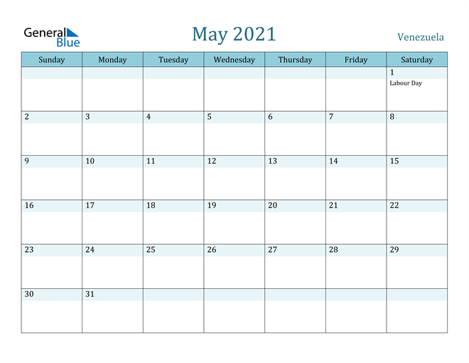 May 2021 Calendar with Holidays in PDF, Word, and Excel