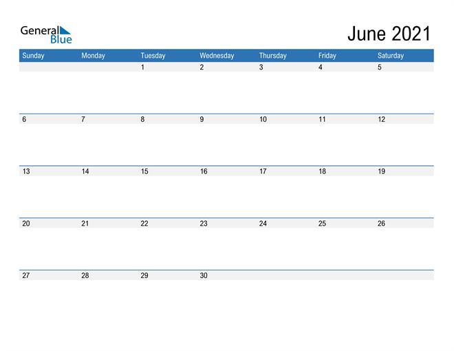 Fillable Calendar for June 2021