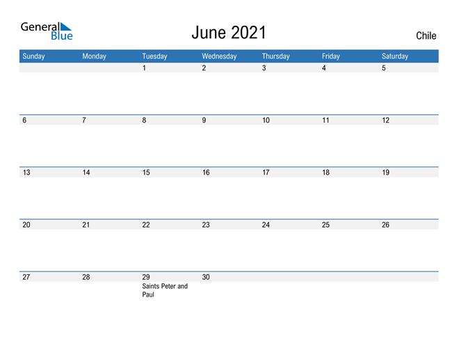 Fillable June 2021 Calendar