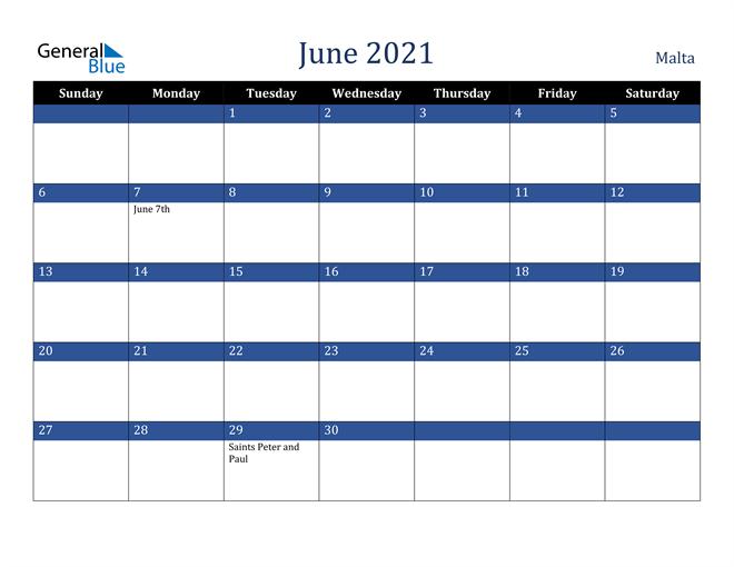 Image of June 2021 Stylish Dark Blue Calendar in PDF, Word and Excel Calendar